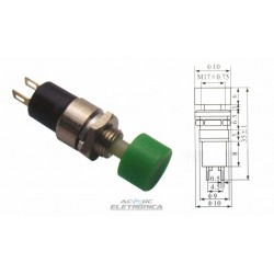 Chave push button DS-323 verde NA
