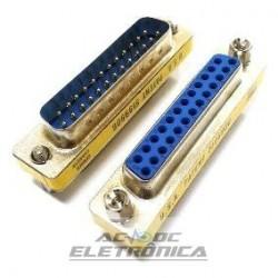 Conector adaptador DB25 machofemea emenda