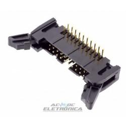 Conector 20 vias H latch IDC 90º c/ejetor