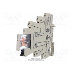 Relé 21Vcc 6 Amp - 1 contato Rev. c/Base - G2RV-1-S