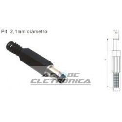 Plug P4 DC 2,1mm cabo