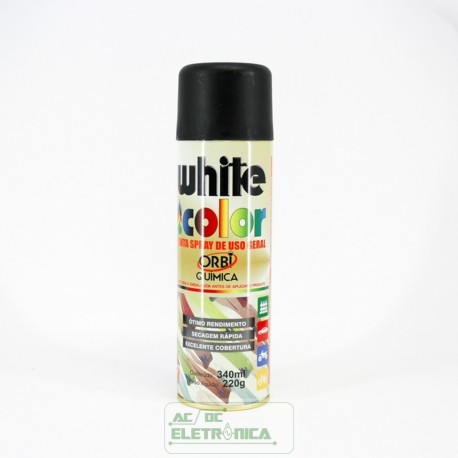 Tinta spray preto fosco 340ml White color - ORBI