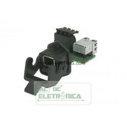 Conector adaptador modular RJ45 hibrido - PN 09452251300 - Harting