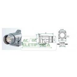 Conector painel macho 17 pinos 90º sinal M23 Hummel