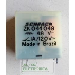 Relé 48Vcc 1A 4 contatos reversiveis ZK044048 Schrack