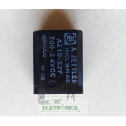 Relé 24Vcc AZ10-S2Y 700 2 contatos 8 pinos A.zettler