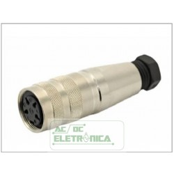 Conector circular DIN 6 vias femea cabo C091 31D006 100 2U Amphenol