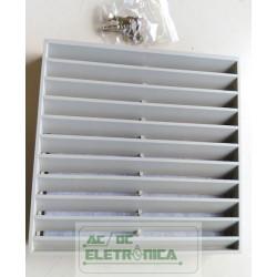 Grelha p/ventilador com filtro 115x115x28mm plástico