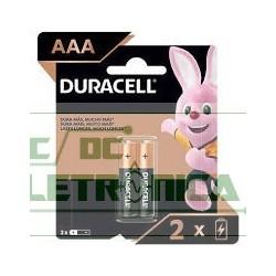 Pilha 1.5V AAA Alcalina 15x50mm Duracell C/2