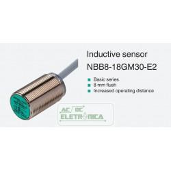 Sensor indutivo tubular 8mm 3 fios - NBB8-18GM30-E2 PEPPERL+FUCHS