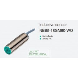 Sensor indutivo tubular 5mm 2 fios - NBB5-18GM60-WO