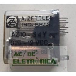 Relé 12Vcc AZ10-S4Y 325 4 contatos 14 pinos soquete A.zettler
