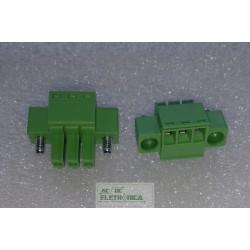 Conector 03 vias 3.50mm borne c/flange - EC350VM-03p